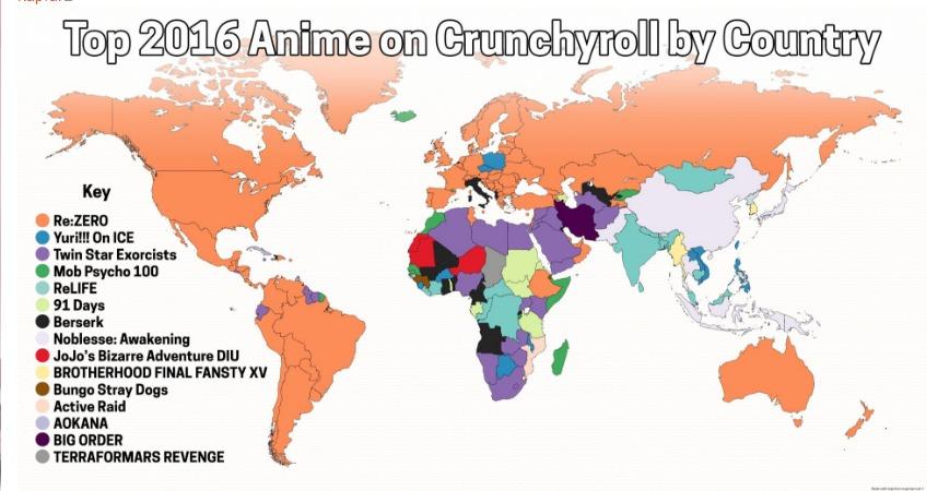 Самое популярное аниме от  Сrunchyroll